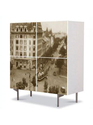 Comoda cu 4 Usi Art Work Urban Orase Piata Rosetti in Bucuresti interbelic, 84 x 84 cm