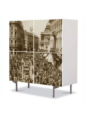 Comoda cu 4 Usi Art Work Urban Orase Calea Victoriei Bucuresti, 84 x 84 cm
