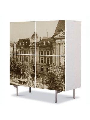Comoda cu 4 Usi Art Work Urban Orase Ministerul Domeniilor in Bucurestiul Vechi, 84 x 84 cm