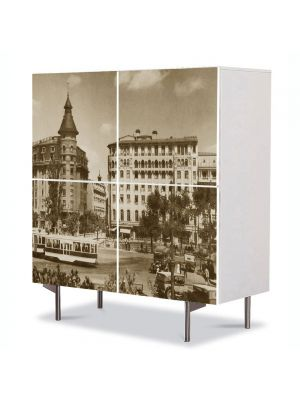 Comoda cu 4 Usi Art Work Urban Orase Podul Izvor in Bucuresti Interbelic, 84 x 84 cm