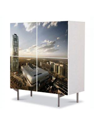 Comoda cu 4 Usi Art Work Urban Orase Skytower Bucuresti, 84 x 84 cm