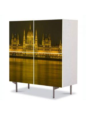 Comoda cu 4 Usi Art Work Urban Orase Parlamentul peste Dunare in Budapesta, 84 x 84 cm