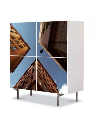 Comoda cu 4 Usi Art Work Urban Orase In oras, 84 x 84 cm