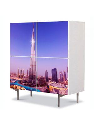Comoda cu 4 Usi Art Work Urban Orase Burj Khalifa Dubai, 84 x 84 cm