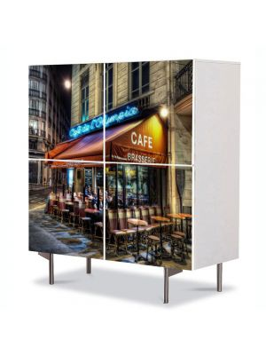 Comoda cu 4 Usi Art Work Urban Orase Cafenera in Paris Franta, 84 x 84 cm
