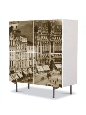 Comoda cu 4 Usi Art Work Urban Orase Palatul telefoanelor Calea Victoriei Bucuresti, 84 x 84 cm
