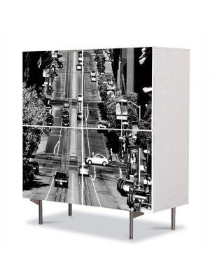 Comoda cu 4 Usi Art Work Urban Orase Strada in California, 84 x 84 cm