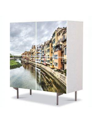 Comoda cu 4 Usi Art Work Urban Orase Catalunia Spania, 84 x 84 cm