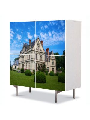 Comoda cu 4 Usi Art Work Urban Orase Castel in Franta, 84 x 84 cm