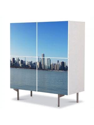 Comoda cu 4 Usi Art Work Urban Orase Chicago in departare, 84 x 84 cm