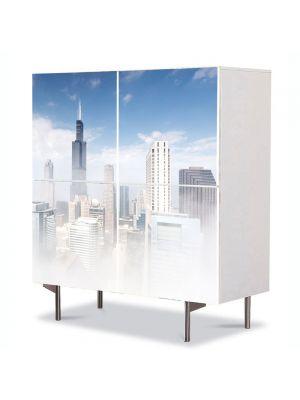 Comoda cu 4 Usi Art Work Urban Orase Ceata in Chicago, 84 x 84 cm