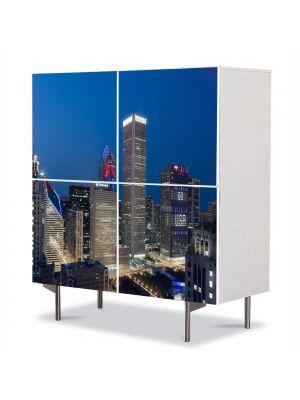 Comoda cu 4 Usi Art Work Urban Orase 4 Iulie in Chicago, 84 x 84 cm