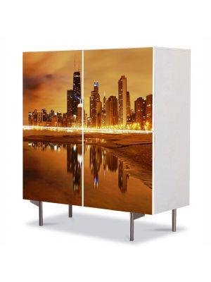 Comoda cu 4 Usi Art Work Urban Orase Apus in Chicago USA, 84 x 84 cm