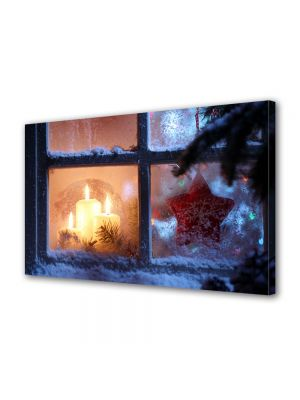 Tablou Canvas Iarna Lumanari la geam