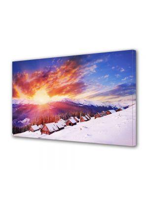 Tablou Canvas Iarna Apus peste dealuri