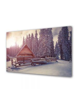 Tablou Canvas Iarna Cabana la munte