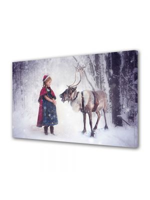 Tablou Canvas Iarna Fetita si renul de poveste