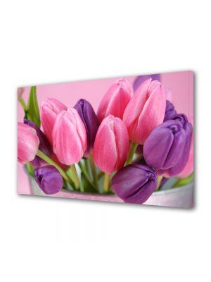 Tablou Canvas Luminos in intuneric VarioView LED Flori Lalele violet si roz