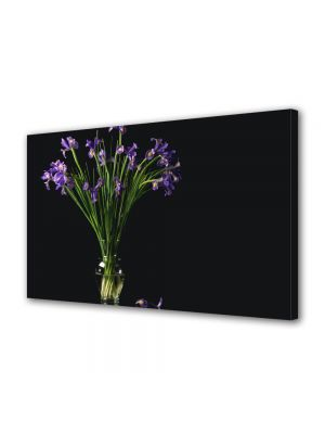 Tablou Canvas Luminos in intuneric VarioView LED Flori Flori mov in vaza