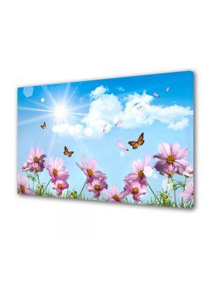 Tablou Canvas Luminos in intuneric VarioView LED Flori Fluturi si flori de primavara