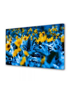 Tablou Canvas Luminos in intuneric VarioView LED Flori Flori cu frunze albastre