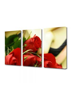 Set Tablouri Multicanvas 3 Piese Flori Buchet trandafiri