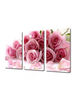 Set Tablouri Multicanvas 3 Piese Flori Buchet de trandafiri rozalii