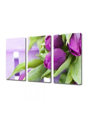 Set Tablouri Multicanvas 3 Piese Flori Buchet de lalele
