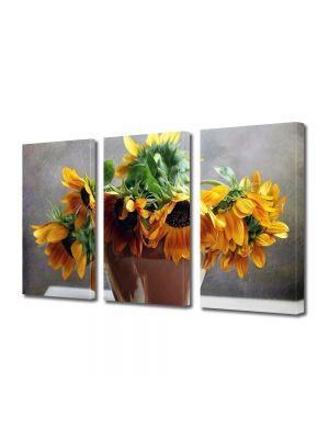Set Tablouri Multicanvas 3 Piese Flori Floarea soarelui in vaza