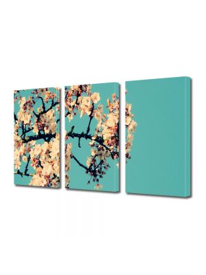 Set Tablouri Multicanvas 3 Piese Flori Creanga cu flori albe