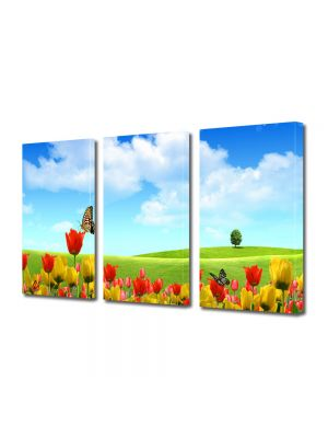 Set Tablouri Multicanvas 3 Piese Flori Fluturi si flori