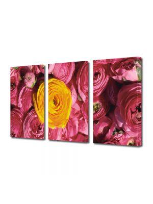 Set Tablouri Multicanvas 3 Piese Flori Floare galbena si flori violet