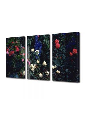 Set Tablouri Multicanvas 3 Piese Flori In gradina cu flori