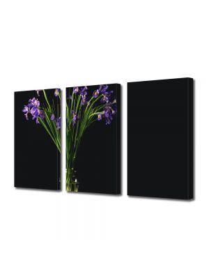 Set Tablouri Multicanvas 3 Piese Flori Flori mov in vaza