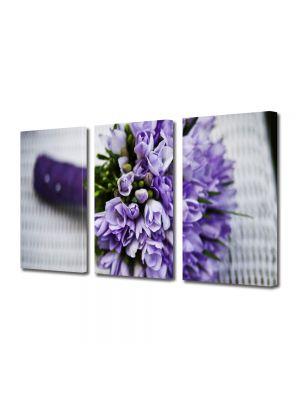 Set Tablouri Multicanvas 3 Piese Flori Buchet de flori violet