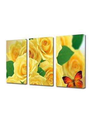 Set Tablouri Multicanvas 3 Piese Flori Trandafiri galbeni si fluturi