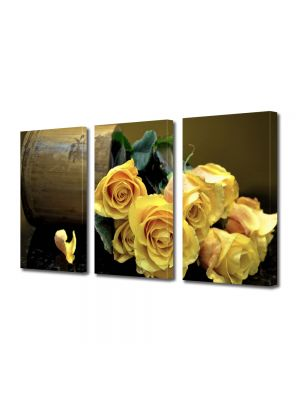 Set Tablouri Multicanvas 3 Piese Flori Buchet de trandafiri galbeni