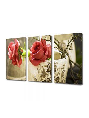 Set Tablouri Multicanvas 3 Piese Flori Trandafiri in cana