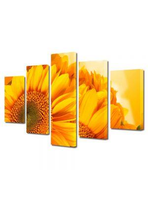Set Tablouri Multicanvas 5 Piese Flori Flori aurii