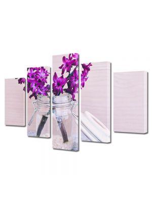 Set Tablouri Multicanvas 5 Piese Flori Zambile Violet