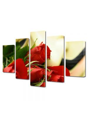 Set Tablouri Multicanvas 5 Piese Flori Buchet trandafiri