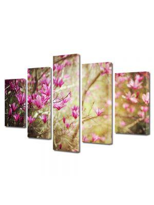 Set Tablouri Multicanvas 5 Piese Flori Magnolie