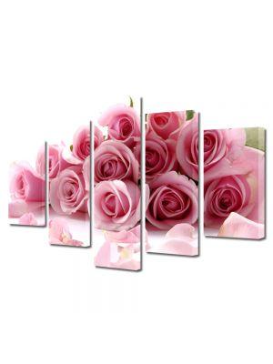 Set Tablouri Multicanvas 5 Piese Flori Buchet de trandafiri rozalii