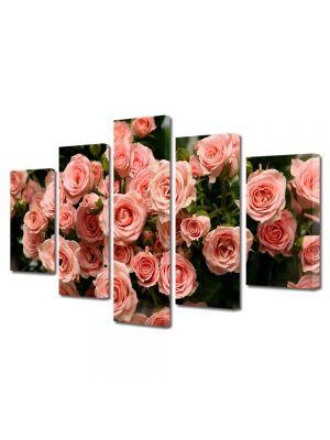 Set Tablouri Multicanvas 5 Piese Flori Muguri de trandafiri roz