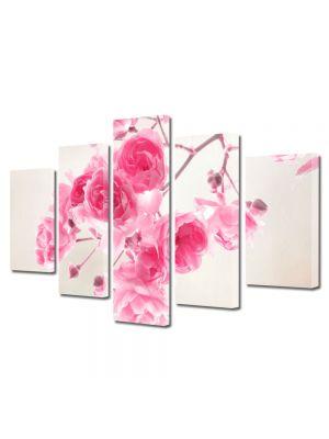 Set Tablouri Multicanvas 5 Piese Flori Frandafiri roz de gradina