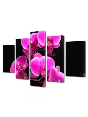 Set Tablouri Multicanvas 5 Piese Flori Orhidee Roz