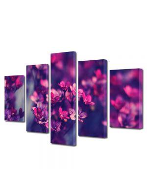 Set Tablouri Multicanvas 5 Piese Flori Flori salbatice violet
