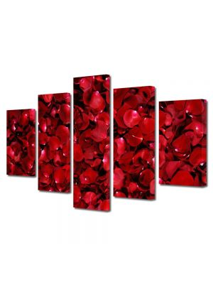 Set Tablouri Multicanvas 5 Piese Flori Petale de trandafiri rosii
