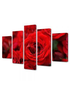 Set Tablouri Multicanvas 5 Piese Flori Buchete de trandafiri