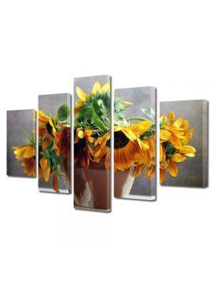 Set Tablouri Multicanvas 5 Piese Flori Floarea soarelui in vaza 60 x 100 cm - 59% reducere